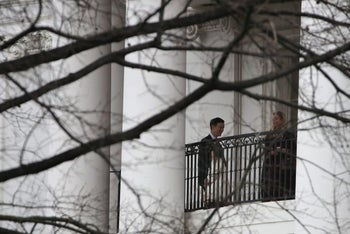 Ivanka Trump, Jared Kushner and their daughter Arabella on a balcony of the White House, January 21, 2017.