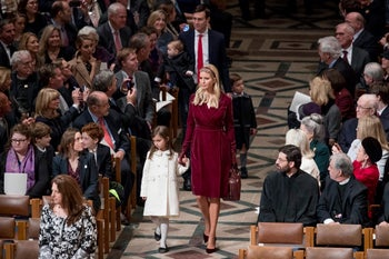 Ivanka Trump, Jared Kushner and their children arrive for a National Prayer Service at the National Cathedral, January 21, 2017.