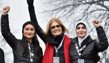 From left: Carmen Perez, Gloria Steinem and Linda Sarsour onstage during the Women's March on Washington on January 21, 2017