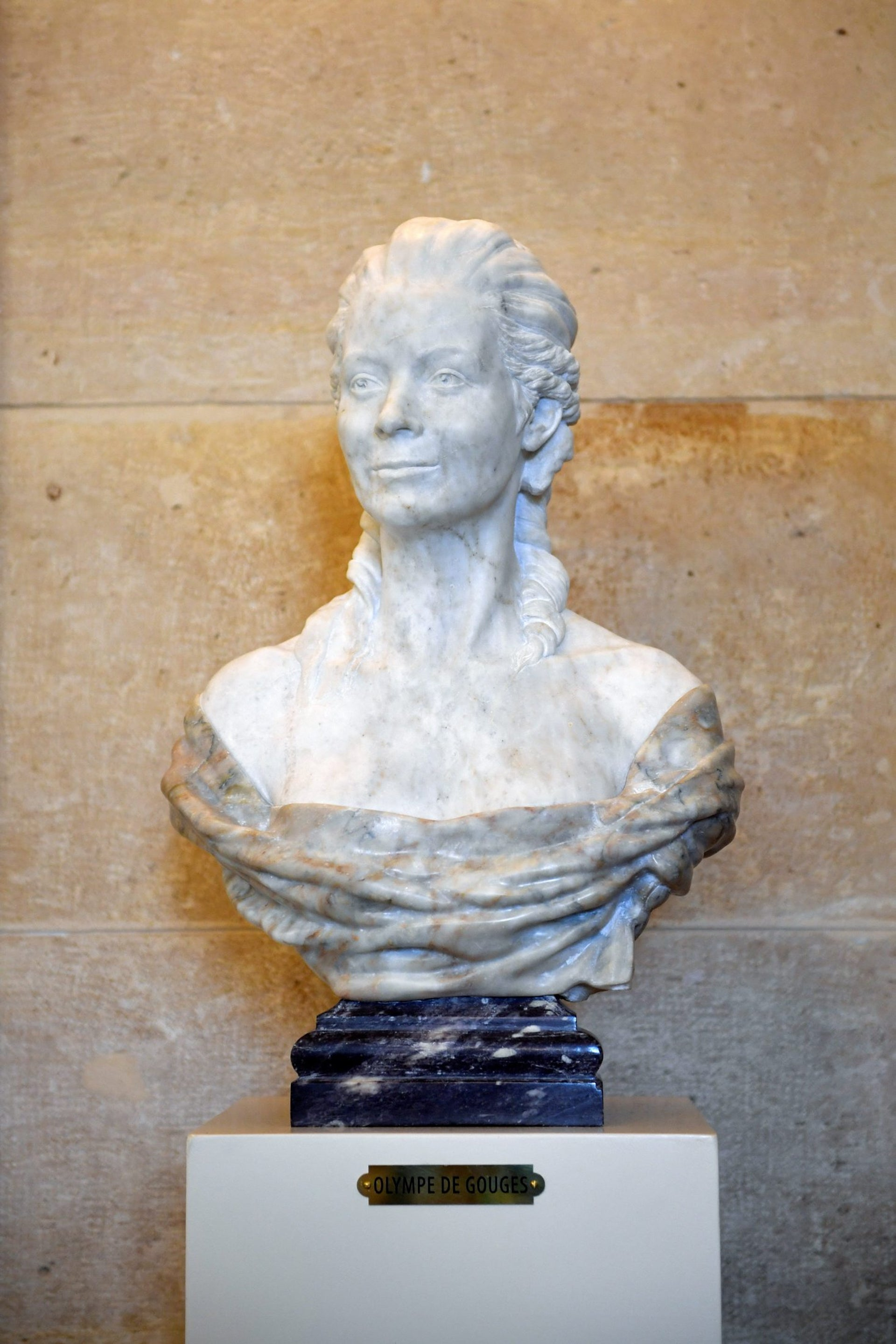 The bust of French playwright and political activist Olympe de Gouges is pictured on October 19, 2016 at the National Assembly in Paris.