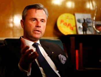 Austrian far-right Freedom Party presidential candidate Norbert Hofer gestures during an interview in his office in Vienna, Austria, November 16, 2016.