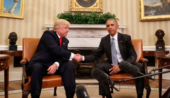 Former President Barack Obama and President Donald Trump shake hands following their meeting in the Oval Office of the White House in Washington, Thursday, Nov. 10, 2016.