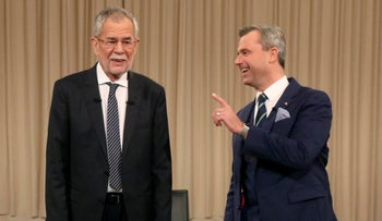 Alexander Van der Bellen, candidate of the Austrian Greens, left, and Norbert Hofer of Austria's Freedom Party, FPOE, ahead of their TV debate in Vienna on November 27, 2016.