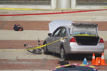 A car which police say was used by an attacker to plow into a group of students is seen outside Watts Hall on Ohio State University's campus in Columbus, Ohio, U.S. November 28, 2016.