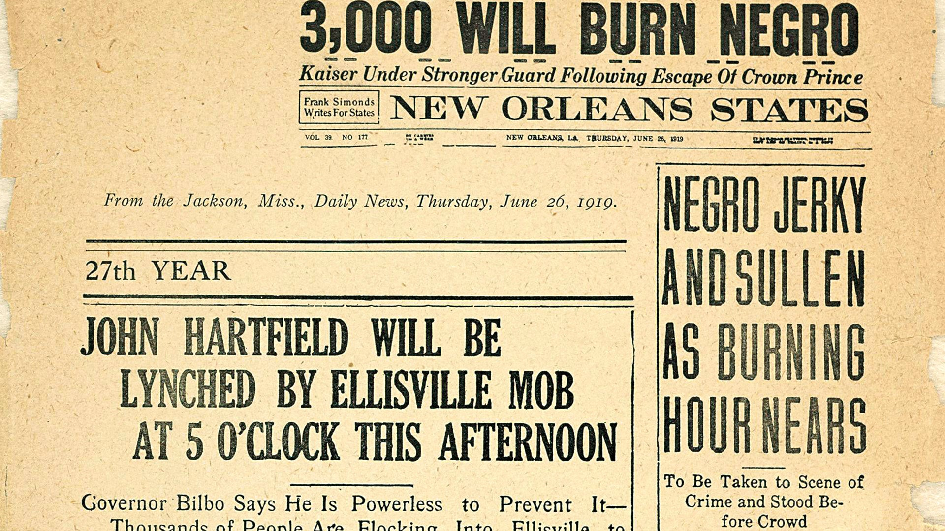 A New Orleans paper announces a lynching.