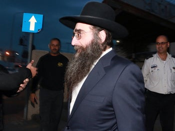 Rabbi Yoshiyahu Pinto being released from prison in the early hours of January 25, 2017.