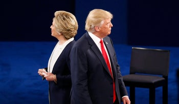 Trump and Clinton during the second U.S. presidential in St. Louis, Missouri, U.S., October 9, 2016.