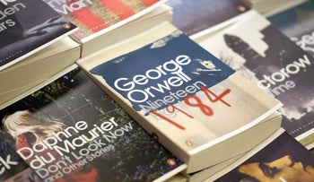 """A file photo of an edition of """"1984"""" by George Orwell in a London, U.K., bookstore, April 5, 2013."""