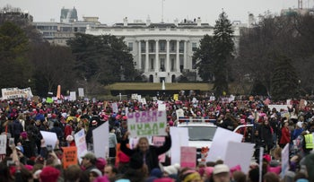 Demonstrators gather in front of the White House during the Women's March on Washington in Washington, D.C., U.S., on Saturday, Jan. 21, 2017.