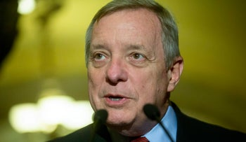 Senator Dick Durbin, a Democrat from Illinois, speaks during a news conference after a Democratic Senate luncheon at the U.S. Capitol in Washington, D.C., U.S., on Tuesday, Oct. 27, 2015.