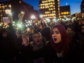 Muslim women protest Donald Trump's executive orders on immigrants in Washington Square Park in New York, January 25, 2017.
