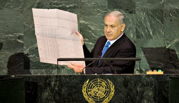 Prime Minister Benjamin Netanyahu holds blueprints from the Auschwitz concentration camp during his address at the UN, 2009.