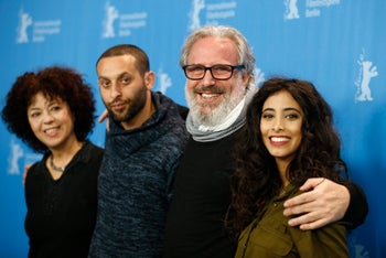 Actress Salwa Sakkara, actor Tamer Nafar, director and producer Udi Aloni and actress Samar Qupty, from left, pose for the photographers during a photo call for the film 'Junction 48' at the 2016 Berlinale Film Festival in Berlin, Germany, Saturday, Feb. 13, 2016.