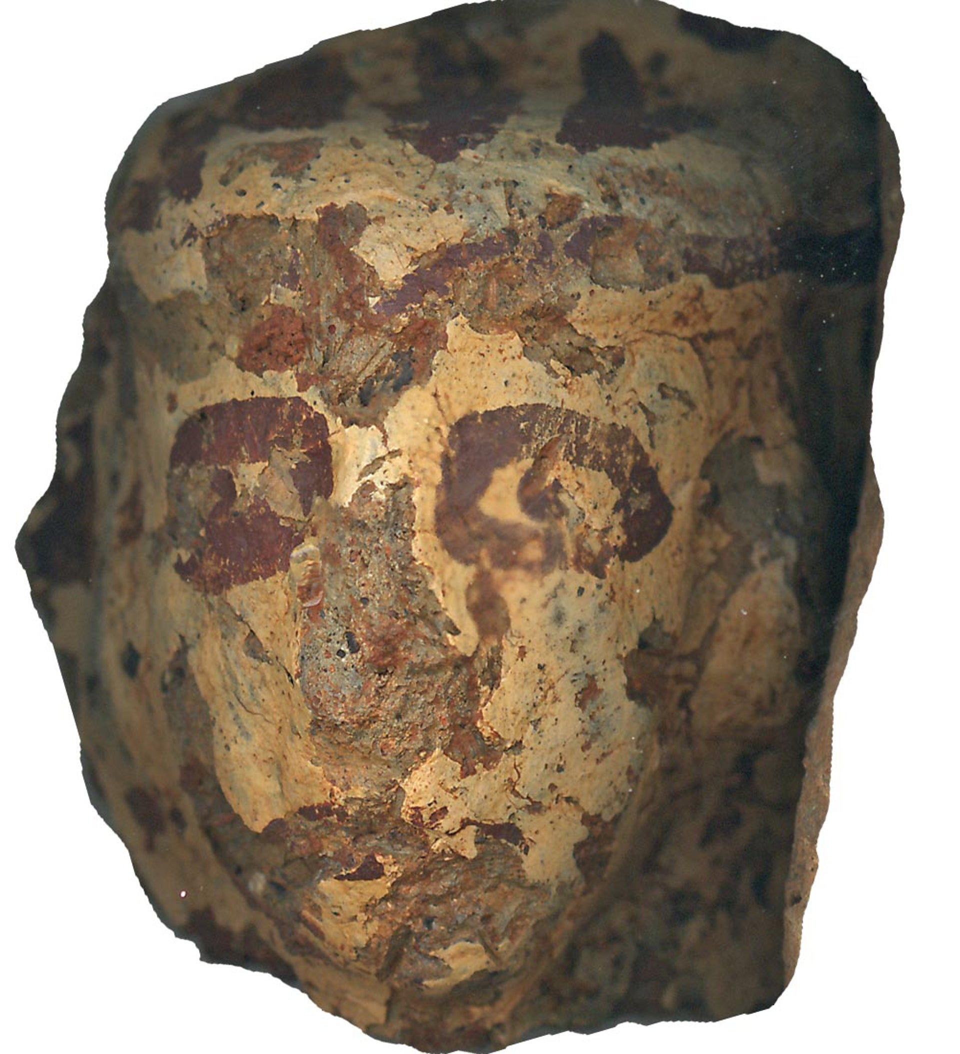 Painted face on an Aegean-style figurine discovered at Tel Dan.