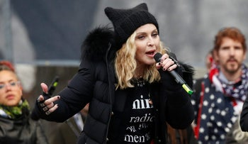 Madonna performs at the Women's March on Washington, January 21, 2017.