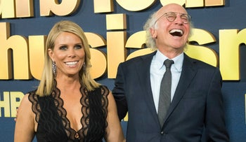 File photo: Larry David and Cheryl Hines at the 'Curb Your Enthusiasm' premier in New York, Sep 27, 2017
