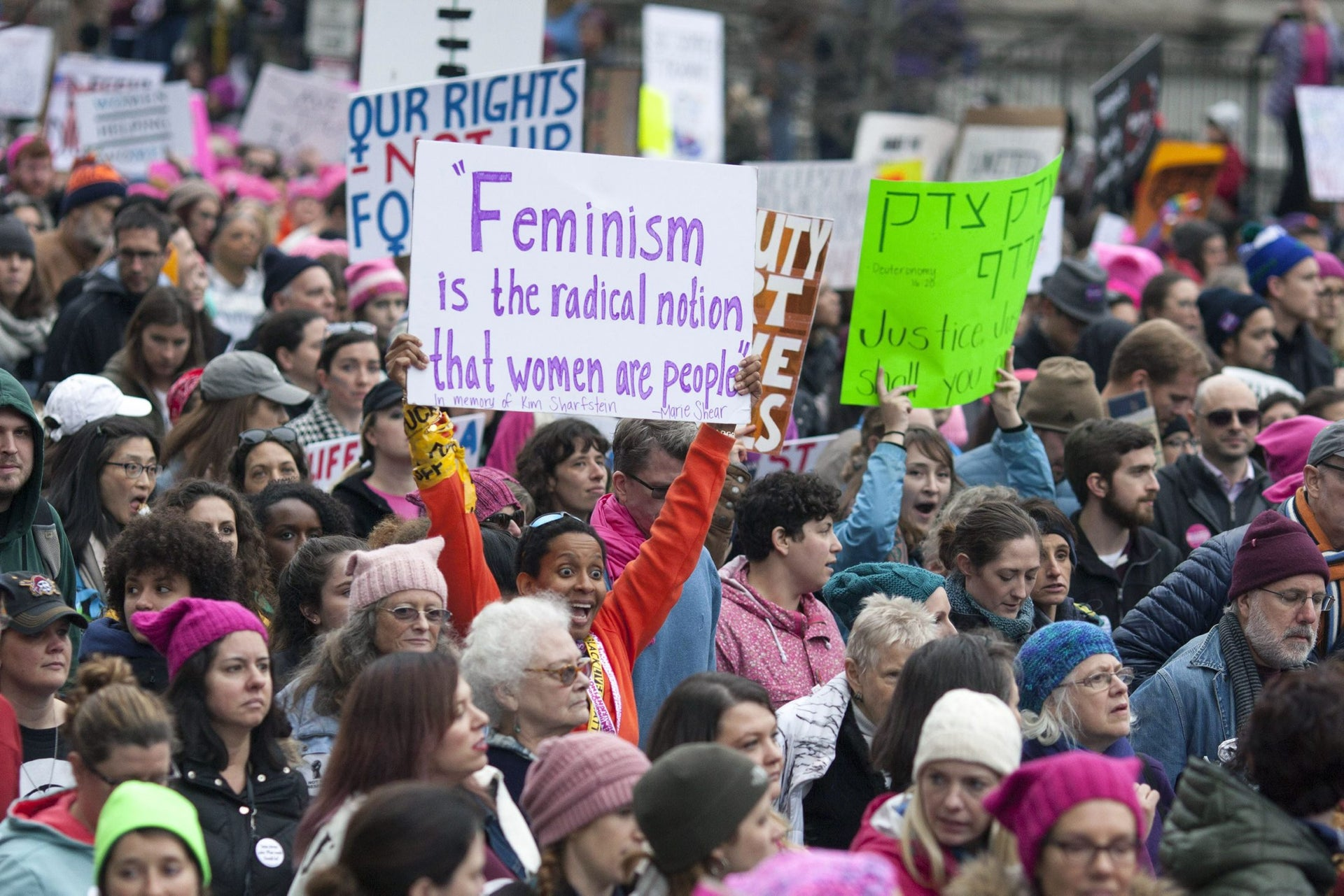 People protest in the streets at the Women's March on Washington on January 21, 2017 in Washington, D.C.