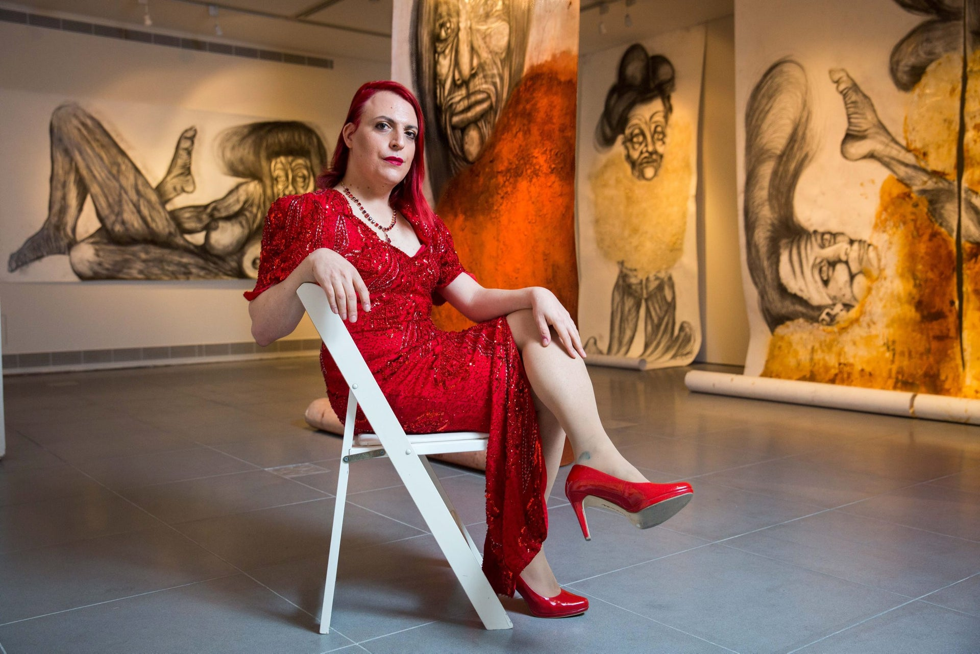 """Roey Heifetz at her """"Victoria"""" exhibition at the Ticho House in Jerusalem."""