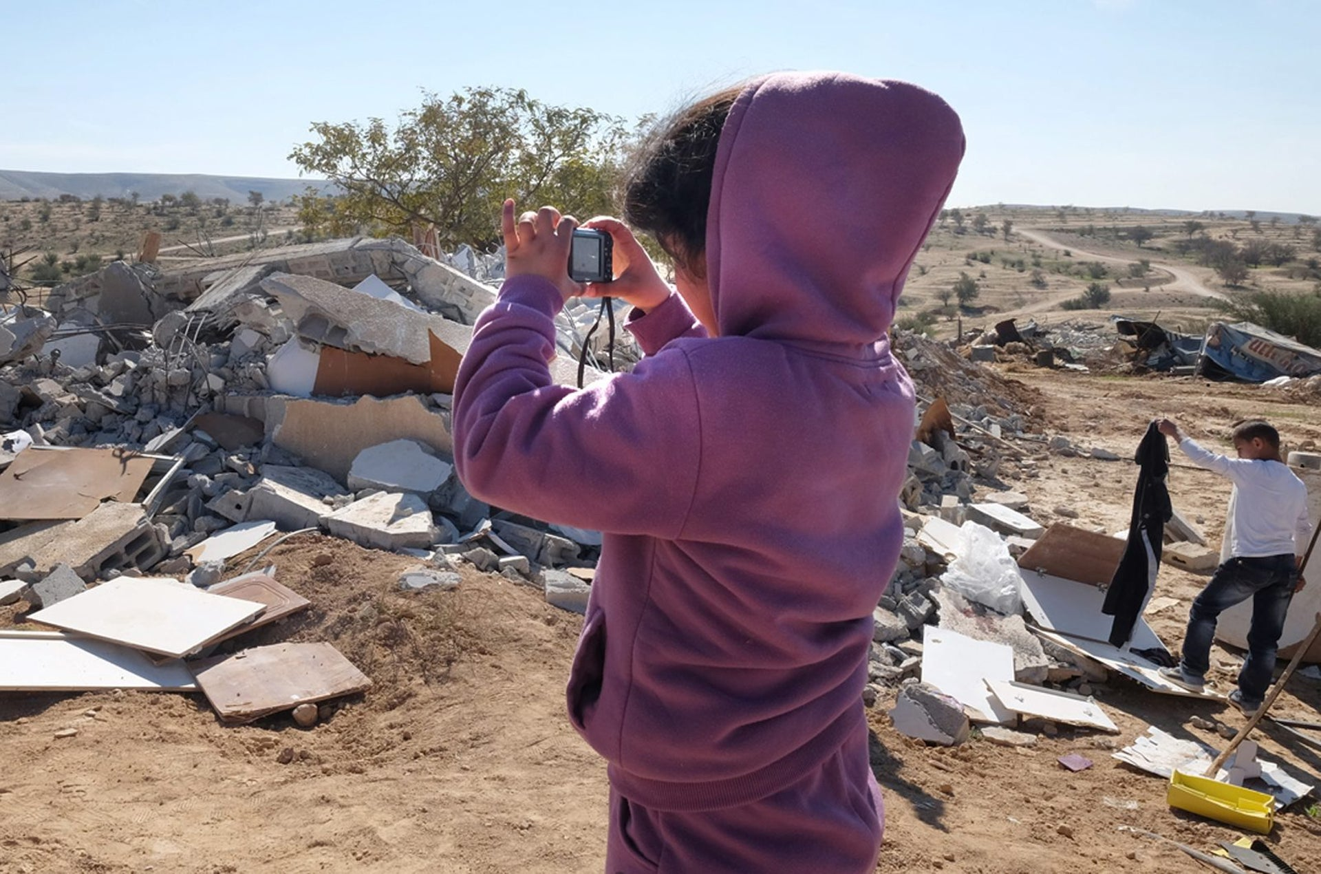 Houses demolished in the Bedouin village of Umm al-Hiran in southern Israel, January 25, 2017.
