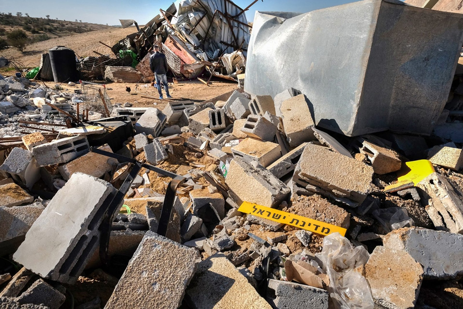 Homes demolished in the Bedouin village of Umm al-Hiran in southern Israel, January 25, 2017.