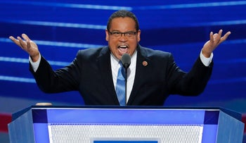 In this July 25, 2016, file photo, Rep. Keith Ellison, D-Minn., speaks during the first day of the Democratic National Convention in Philadelphia.