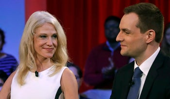 Kellyanne Conway, Trump campaign manager, looks toward Robby Mook, Clinton campaign manager, prior to a forum at Harvard University on Dec. 1, 2016.