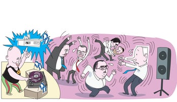 Illustration: Bennett in the role of the dj making a club full of politicians dance to his tune.