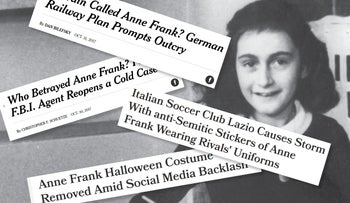 Recent headlines relating to Anne Frank and anti-Semitism.