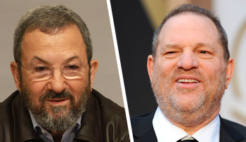 Former Israeli Prime Minister Ehud Barak and disgraced Hollywood producer Harvey Weinstein. Barak reportedly supplied Weinstein information that facilitated his hiring of Israeli firm Black Cube to investigate women accusing him of sexual assault