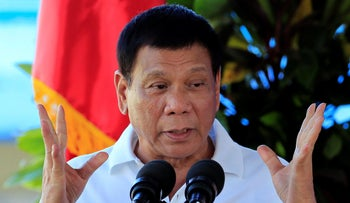Philippine President Rodrigo Duterte delivers a speech during the inauguration of a drug abuse treatment and rehabilitation center north of Manila, Philippines, November 29, 2016.