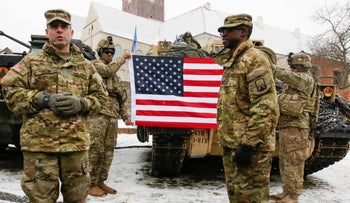 U.S. army soldiers attend an official welcoming ceremony for U.S. troops deployed to Poland as part of NATO build-up in Eastern Europe in Zagan, Poland, January 14, 2017.