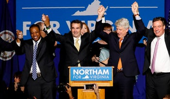 Virginia Governor Elect Ralph Northam celebrates with at his election night rally on the campus of George Mason University in Fairfax, Virginia, November 7, 2017.