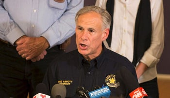 Texas Governor Greg Abbott speaks at a press conference on November 5, 2017, in Sutherland Springs, Texas about the First Baptist Church mass shooting