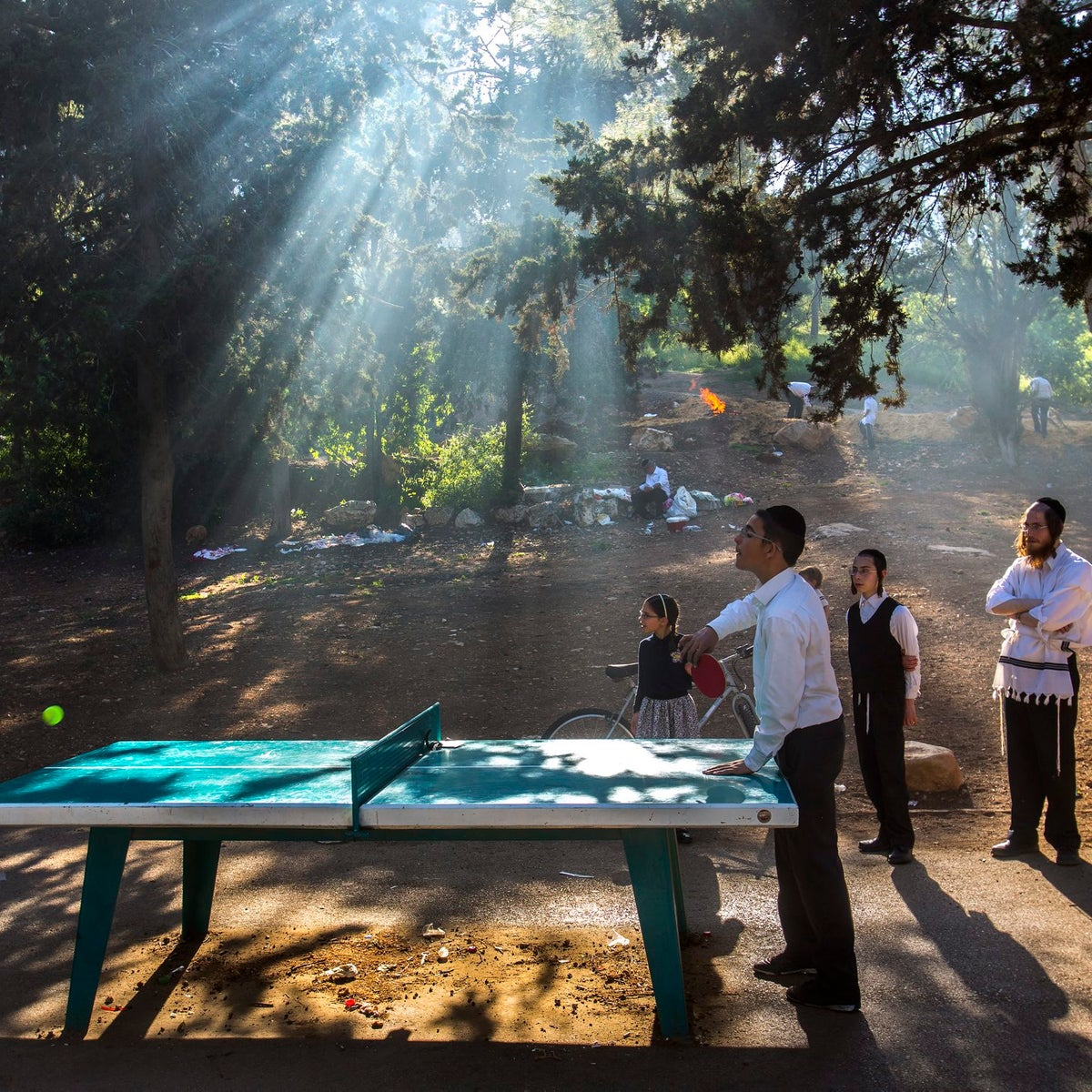 Ultra-Orthodox Jews relax during the Passover holiday, in the Jerusalem.
