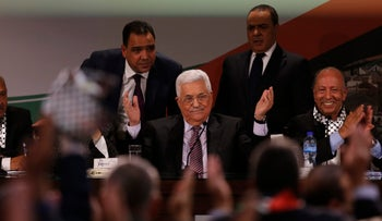 Palestinian President Mahmoud Abbas during the seventh Fatah conference in Ramallah, November 30, 2016.