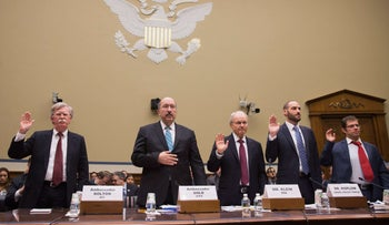 From left to right: John Bolton, Dore Gold, Michael Koplow and Dr. Eugene Kontorovich attend the committee on moving the U.S. Embassy to Jerusalem, Capitol Hill, Washington, November 8, 2017.