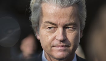 Geert Wilders, leader of the Freedom Party, pauses while speaking to journalists in The Hague, Netherlands, April 6, 2016.