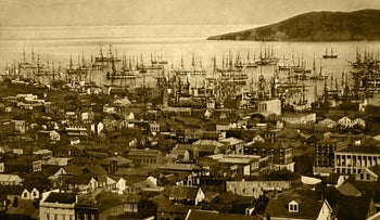 San Francisco harbor, at Yerba Buena Cove in 1850 or 1851. Source: Wikimedia Commons
