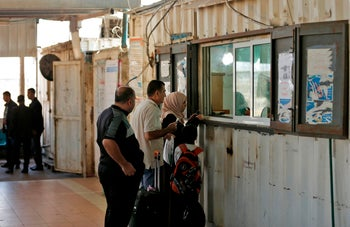 Passport control at the northern entrance of the Gaza Strip on November 1, 2017 in Beit Hanun.