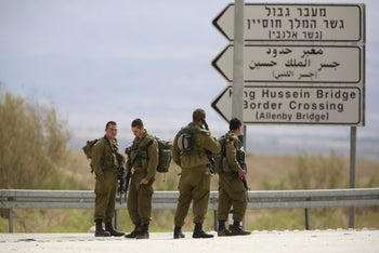 File photo: Israeli soldiers at the Allenby Crossing linking the West Bank and Jordan