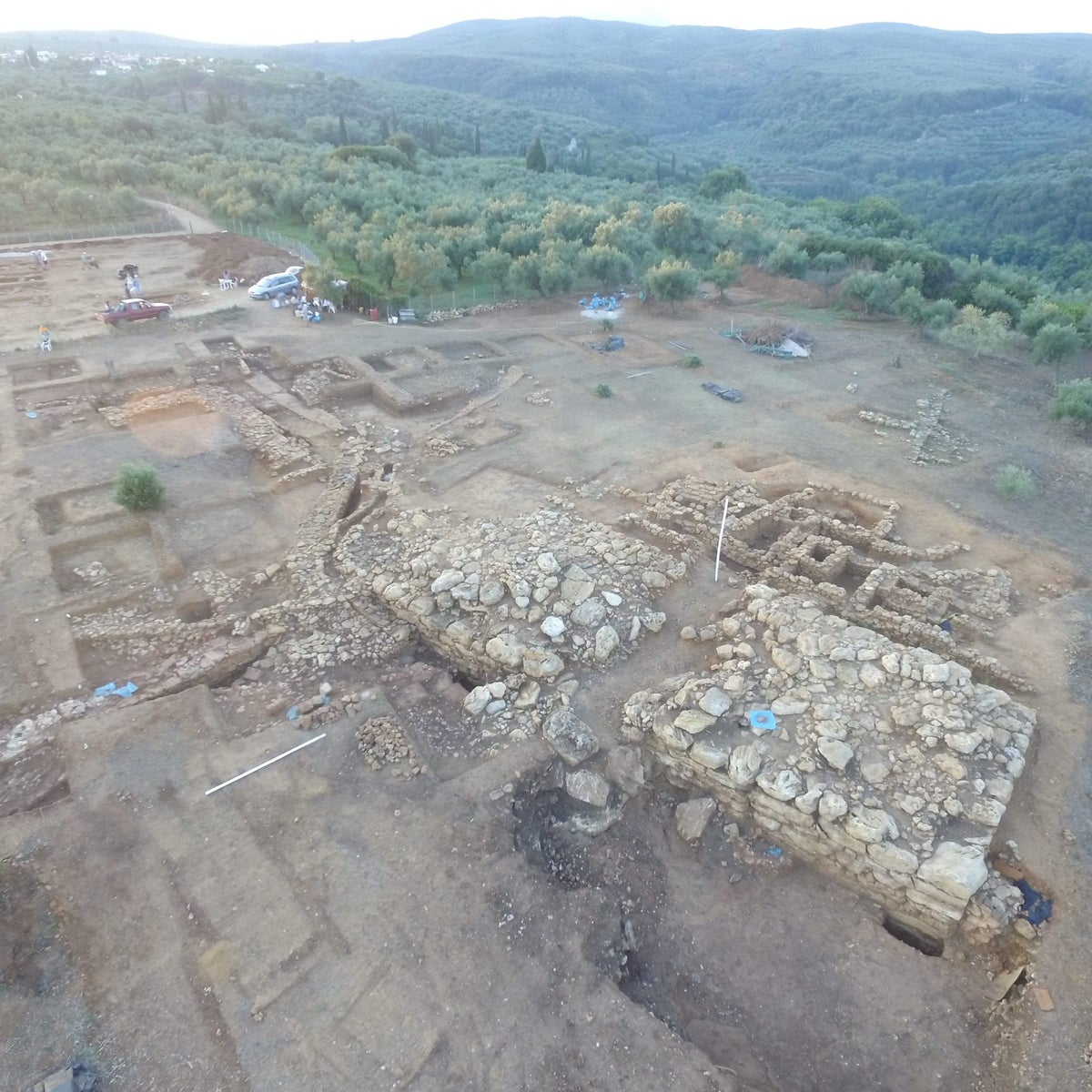 Aerial view of Iklaina: This palace dating to around 3400 years ago shows the city was no backwater, as had been thought, but a powerful Mycaenean-era capital in competition with the Palace of Nestor, which was just 10 kilometers away.
