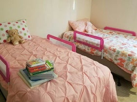 A room for two small girls from a Syrian family was lovingly furnished by volunteers from Jewish Family Services Metrowest of Greater Boston.