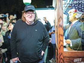 """Michael Moore at the premiere of his documentary """"Trumpland"""" in October."""