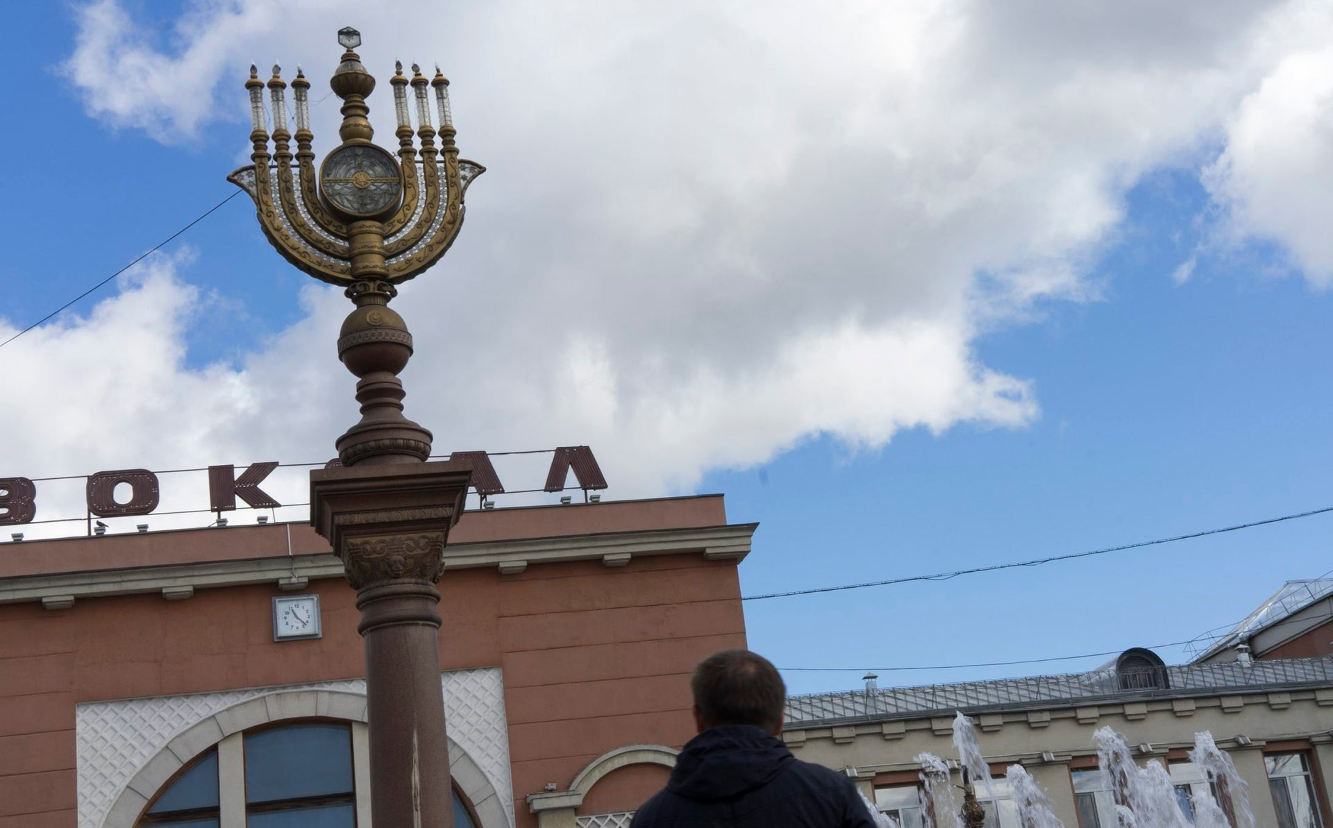 A giant menorah in front of the railway station in Birobidzhan, Russia,