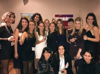 The women's delegation from Israel, including former members of Unit 8200, at the event in New York.