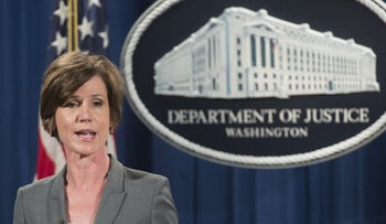 Deputy Attorney General Sally Yates speaks during a press conference in Washington on June 28, 2016.