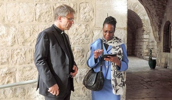 Prof. Dr. Isabel Apawo Phiri (right) with Rev. Dr. Olav Fykse Tveit in Jerusalem, 2015