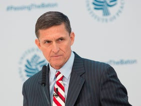 Former White House national security advisor Michael Flynn at the US Institute Of Peace in Washington D.C. on January 10, 2017.