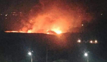 A screenshot of alleged airstrikes at the Mezze Airport in Damascus, Syria, December 7, 2016.