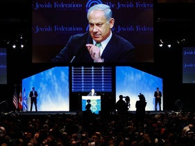 Prime Minister Benjamin Netanyahu addresses the Jewish Federations of North America's 2009 General Assembly.